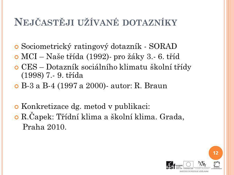 N EJČASTĚJI UŽÍVANÉ DOTAZNÍKY Sociometrický ratingový dotazník - SORAD MCI – Naše třída (1992)- pro žáky 3.- 6. tříd CES – Dotazník sociálního klimatu