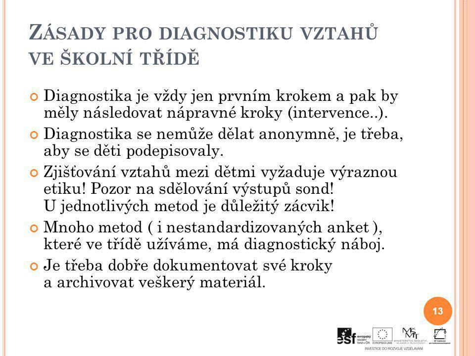 Z ÁSADY PRO DIAGNOSTIKU VZTAHŮ VE ŠKOLNÍ TŘÍDĚ Diagnostika je vždy jen prvním krokem a pak by měly následovat nápravné kroky (intervence..). Diagnosti