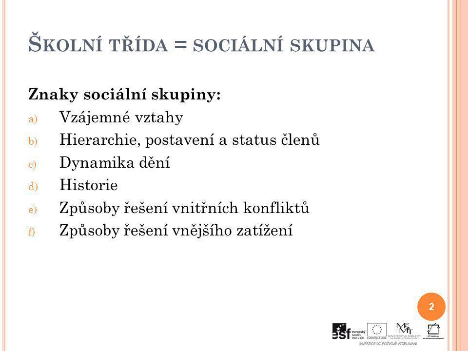 Š KOLNÍ TŘÍDA = SOCIÁLNÍ SKUPINA Znaky sociální skupiny: a) Vzájemné vztahy b) Hierarchie, postavení a status členů c) Dynamika dění d) Historie e) Zp
