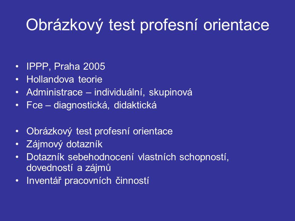 Obrázkový test profesní orientace IPPP, Praha 2005 Hollandova teorie Administrace – individuální, skupinová Fce – diagnostická, didaktická Obrázkový t