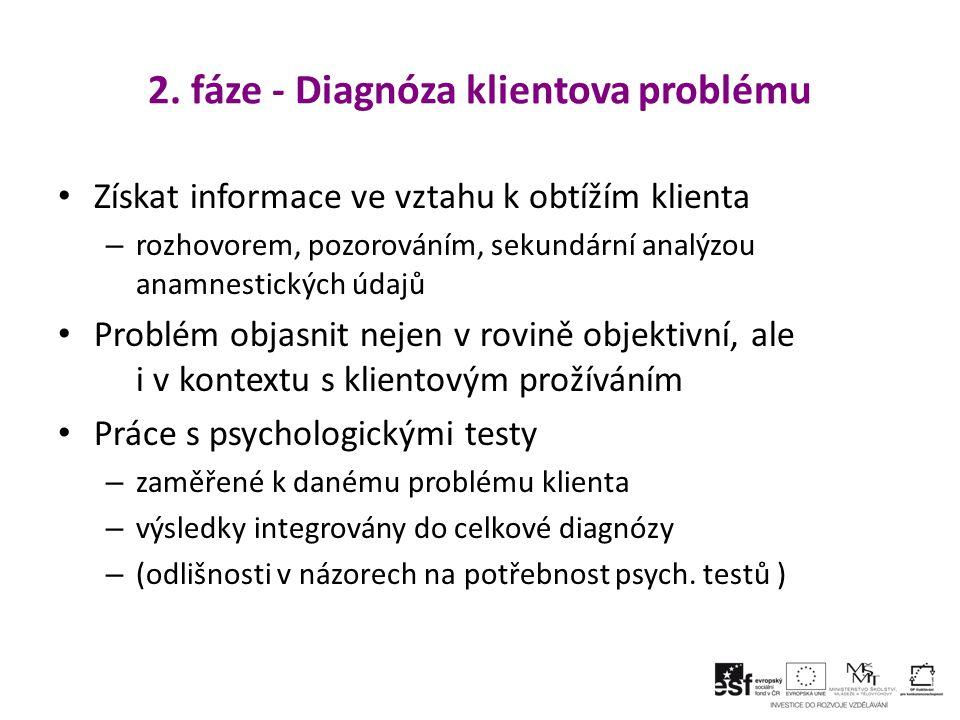 2. fáze - Diagnóza klientova problému Získat informace ve vztahu k obtížím klienta – rozhovorem, pozorováním, sekundární analýzou anamnestických údajů