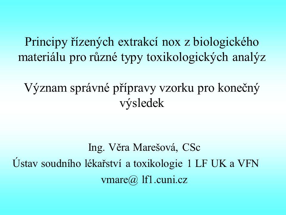 Principy řízených extrakcí nox z biologického materiálu pro různé typy toxikologických analýz Význam správné přípravy vzorku pro konečný výsledek Ing.
