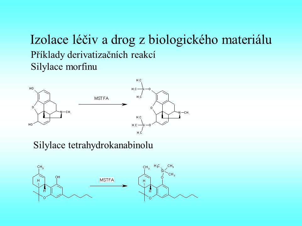 Izolace léčiv a drog z biologického materiálu Příklady derivatizačních reakcí Silylace morfinu Silylace tetrahydrokanabinolu
