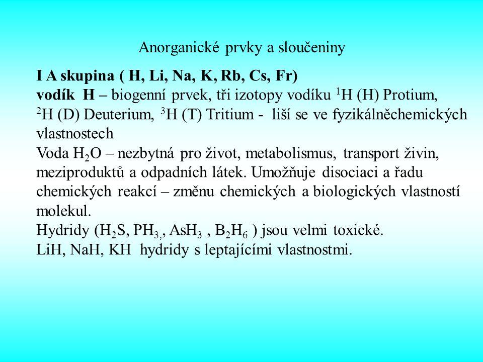 Anorganické prvky a sloučeniny I A skupina ( H, Li, Na, K, Rb, Cs, Fr) vodík H – biogenní prvek, tři izotopy vodíku 1 H (H) Protium, 2 H (D) Deuterium