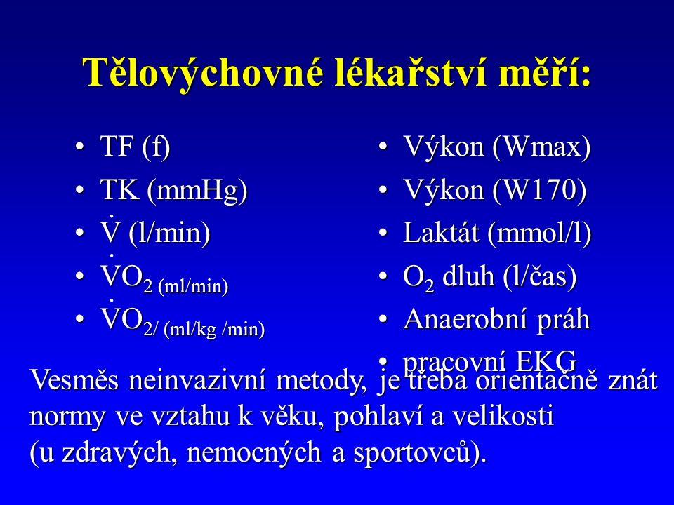 Tělovýchovné lékařství měří: TF (f)TF (f) TK (mmHg)TK (mmHg) V (l/min)V (l/min) VO 2 (ml/min)VO 2 (ml/min) VO 2/ (ml/kg /min)VO 2/ (ml/kg /min) Výkon