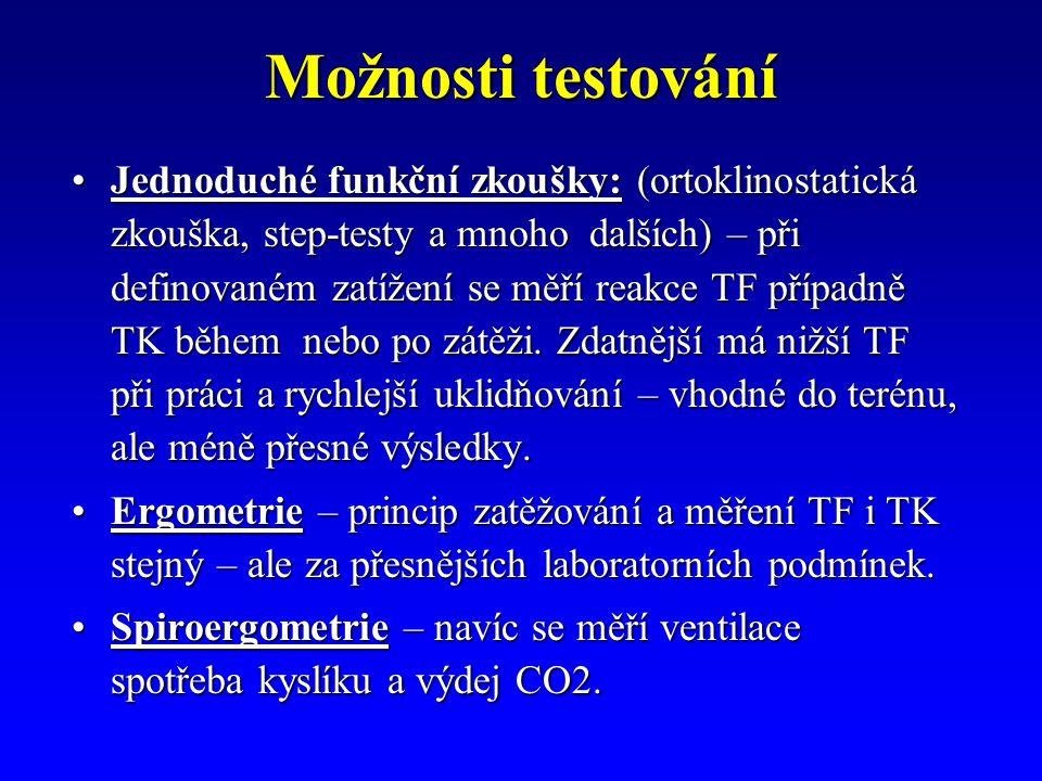 Možnosti testování Jednoduché funkční zkoušky: (ortoklinostatická zkouška, step-testy a mnoho dalších) – při definovaném zatížení se měří reakce TF př