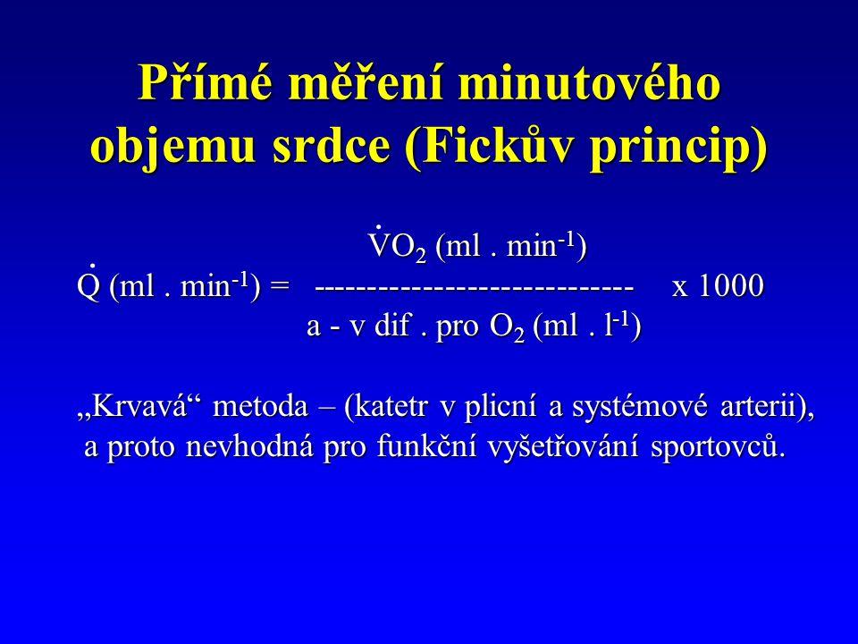 Přímé měření minutového objemu srdce (Fickův princip) VO 2 (ml. min -1 ) VO 2 (ml. min -1 ) Q (ml. min -1 ) = ----------------------------- x 1000 Q (