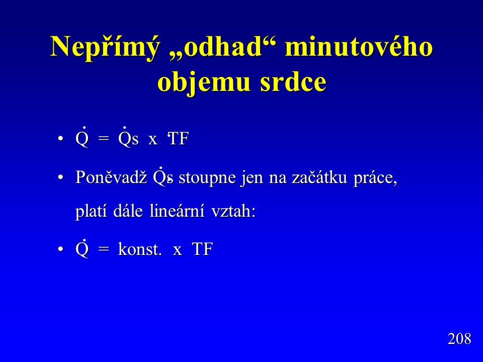 """Nepřímý """"odhad"""" minutového objemu srdce Q = Qs x TFQ = Qs x TF Poněvadž Qs stoupne jen na začátku práce, platí dále lineární vztah:Poněvadž Qs stoupne"""