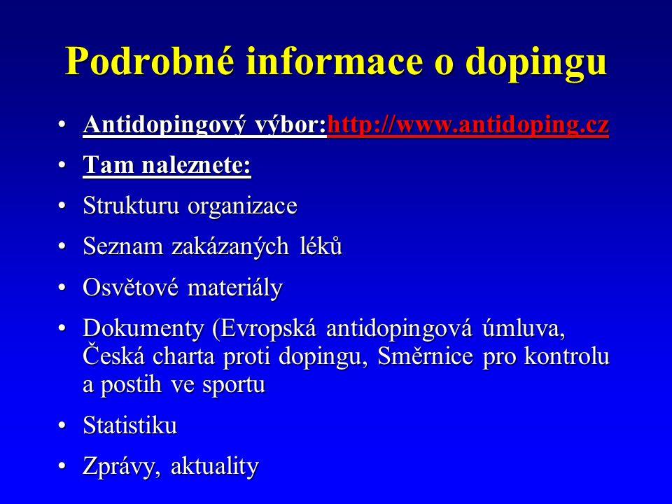 Za doping je ve sportu považováno, a proto zakázáno I.
