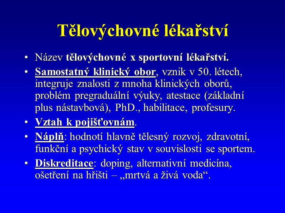Tělovýchovné lékařství Název tělovýchovné x sportovní lékařství.Název tělovýchovné x sportovní lékařství.