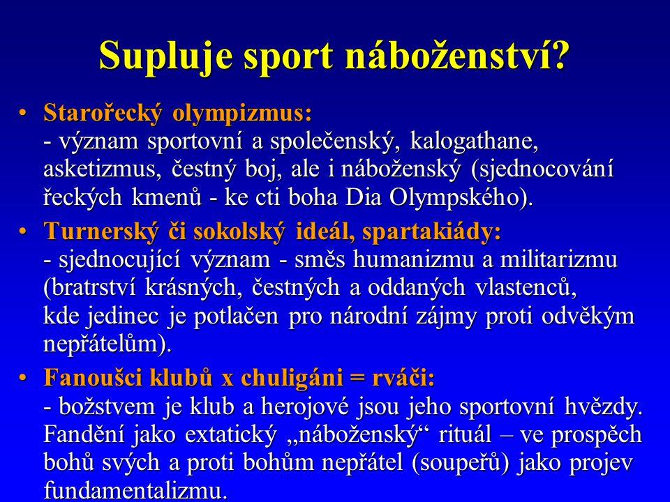 Supluje sport náboženství.