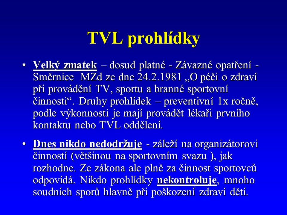 """TVL prohlídky Velký zmatek – dosud platné - Závazné opatření - Směrnice MZd ze dne 24.2.1981 """"O péči o zdraví při provádění TV, sportu a branné sportovní činnosti ."""