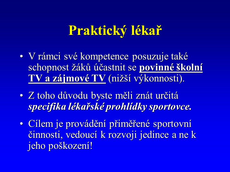 Praktický lékař V rámci své kompetence posuzuje také schopnost žáků účastnit se povinné školní TV a zájmové TV (nižší výkonnosti).V rámci své kompetence posuzuje také schopnost žáků účastnit se povinné školní TV a zájmové TV (nižší výkonnosti).