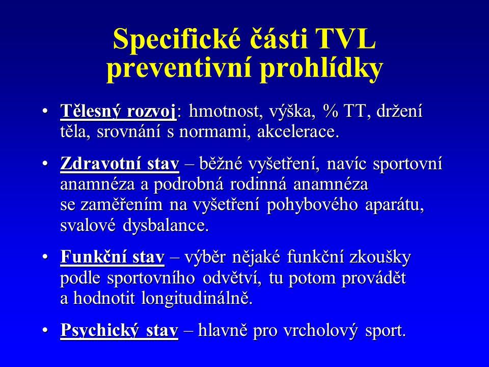Specifické části TVL preventivní prohlídky Tělesný rozvoj: hmotnost, výška, % TT, držení těla, srovnání s normami, akcelerace.Tělesný rozvoj: hmotnost, výška, % TT, držení těla, srovnání s normami, akcelerace.