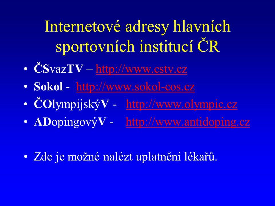 Internetové adresy hlavních sportovních institucí ČR ČSvazTV – http://www.cstv.czhttp://www.cstv.cz Sokol - http://www.sokol-cos.czhttp://www.sokol-cos.cz ČOlympijskýV - http://www.olympic.czhttp://www.olympic.cz ADopingovýV - http://www.antidoping.czhttp://www.antidoping.cz Zde je možné nalézt uplatnění lékařů.