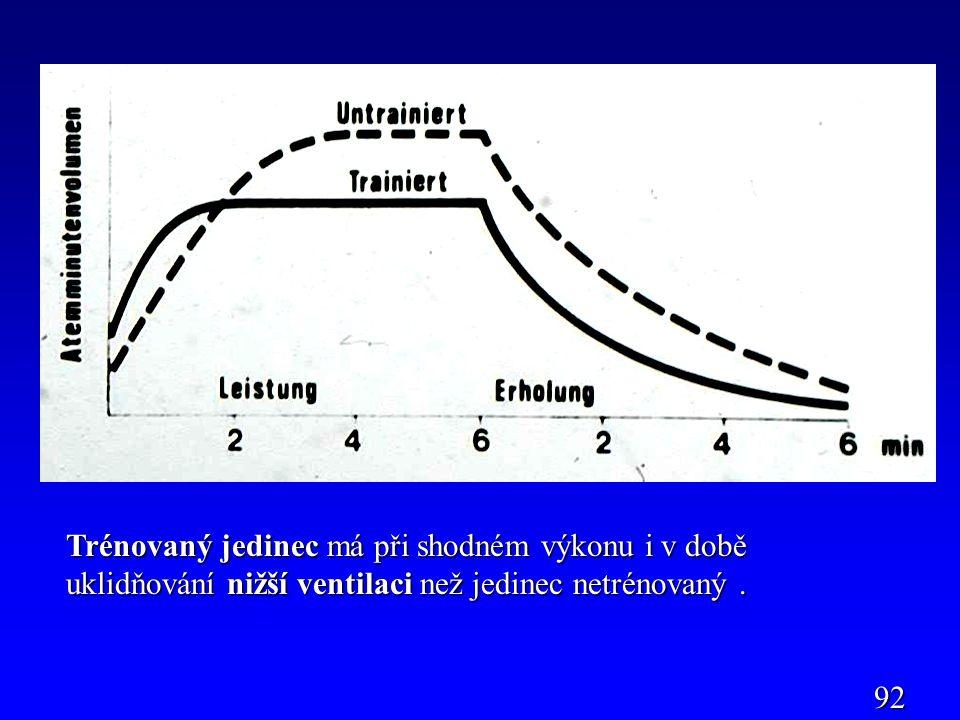 Trénovaný jedinec má při shodném výkonu i v době uklidňování nižší ventilaci než jedinec netrénovaný. 92