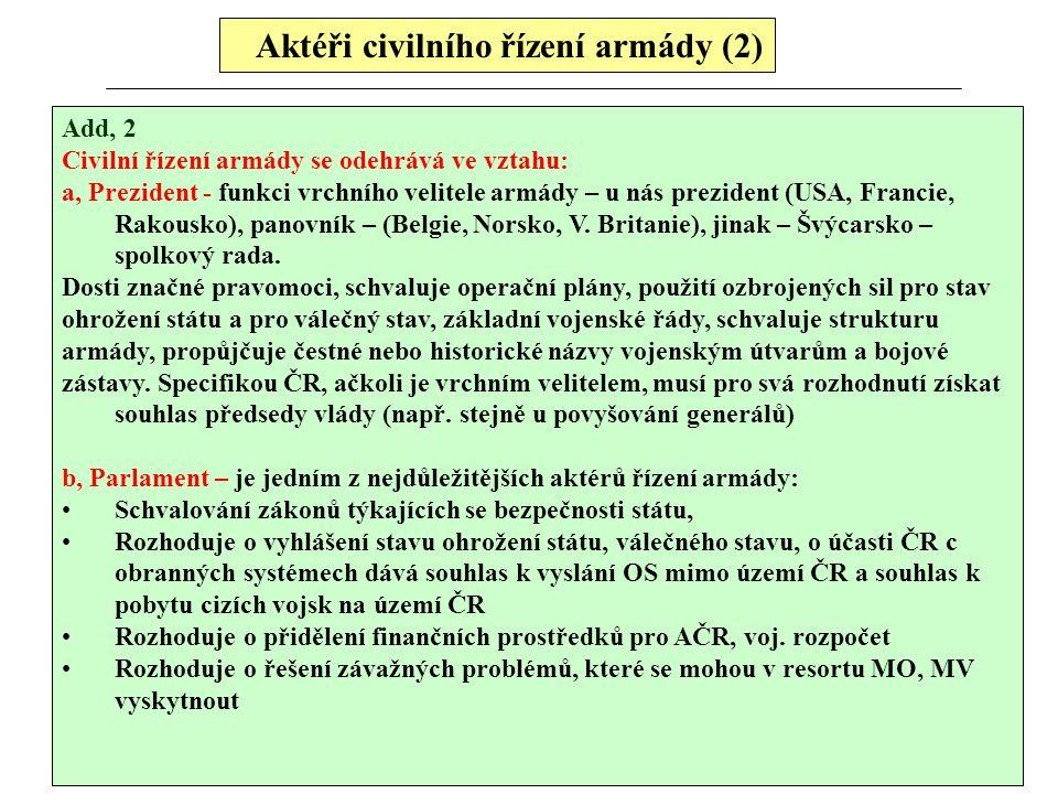 Aktéři civilního řízení armády (2) Add, 2 Civilní řízení armády se odehrává ve vztahu: a, Prezident - funkci vrchního velitele armády – u nás preziden