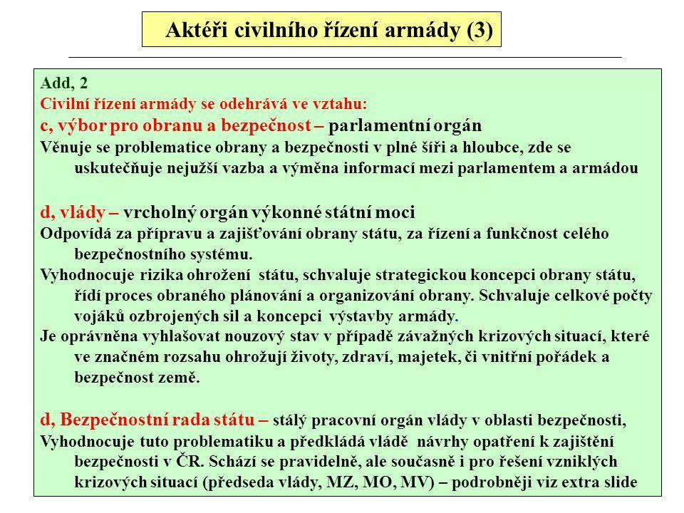 Aktéři civilního řízení armády (3) Add, 2 Civilní řízení armády se odehrává ve vztahu: c, výbor pro obranu a bezpečnost – parlamentní orgán Věnuje se