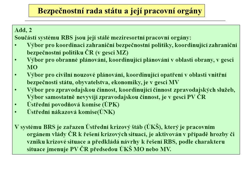 Bezpečnostní rada státu a její pracovní orgány Add, 2 Součástí systému RBS jsou její stálé meziresortní pracovní orgány: Výbor pro koordinaci zahranič