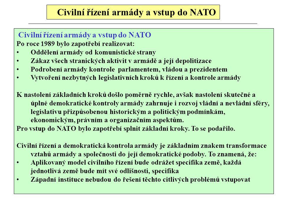 Civilní řízení armády a vstup do NATO Po roce 1989 bylo zapotřebí realizovat: Oddělení armády od komunistické strany Zákaz všech stranických aktivit v