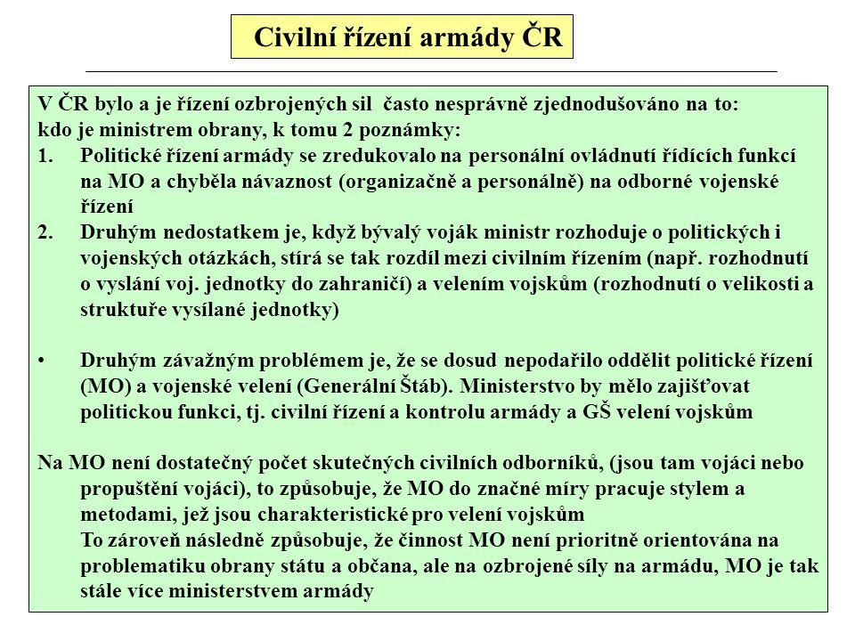 Civilní řízení armády ČR V ČR bylo a je řízení ozbrojených sil často nesprávně zjednodušováno na to: kdo je ministrem obrany, k tomu 2 poznámky: 1.Pol