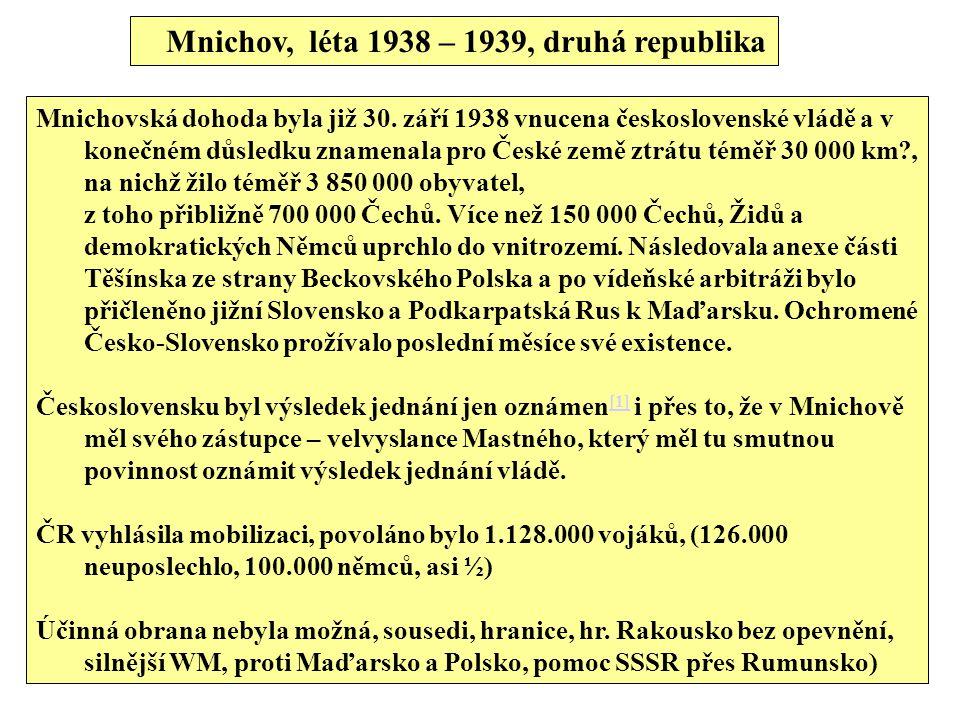 Mnichov, léta 1938 – 1939, druhá republika Mnichovská dohoda byla již 30. září 1938 vnucena československé vládě a v konečném důsledku znamenala pro Č