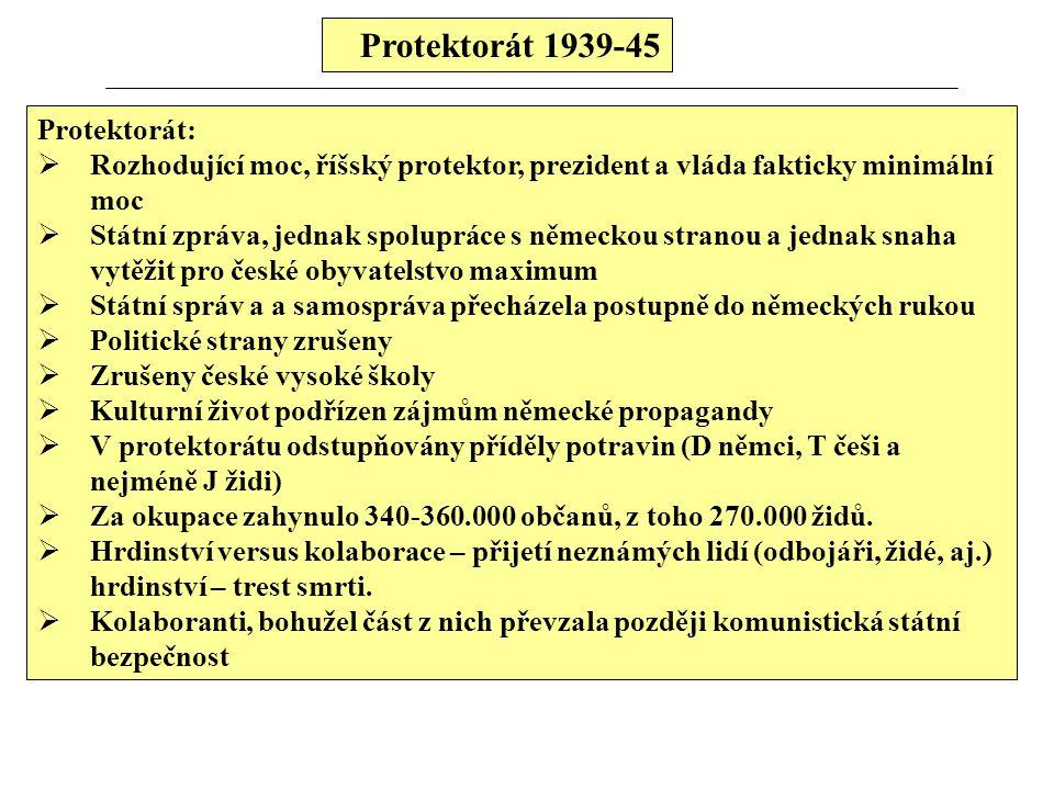 Protektorát 1939-45 Protektorát:  Rozhodující moc, říšský protektor, prezident a vláda fakticky minimální moc  Státní zpráva, jednak spolupráce s ně