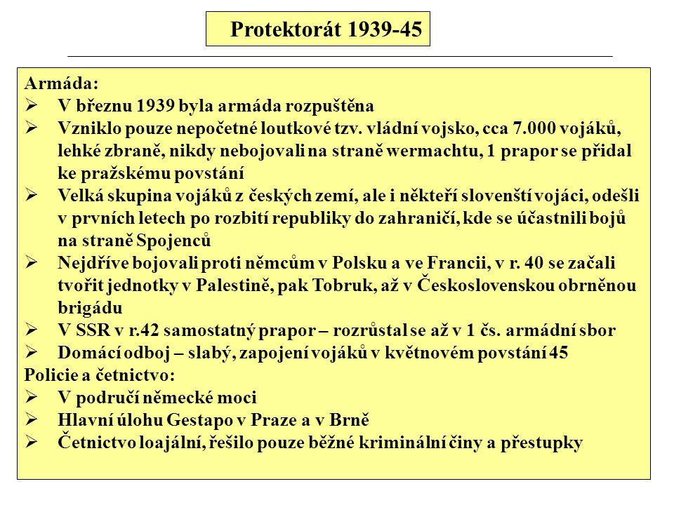 Protektorát 1939-45 Armáda:  V březnu 1939 byla armáda rozpuštěna  Vzniklo pouze nepočetné loutkové tzv.