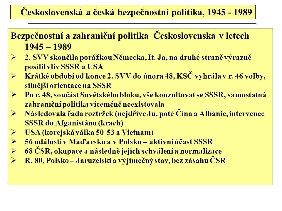 Československá a česká bezpečnostní politika, 1945 - 1989 Bezpečnostní a zahraniční politika Československa v letech 1945 – 1989  2. SVV skončila por