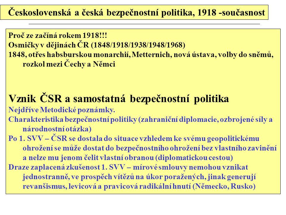 Československá a česká bezpečnostní politika, 1918 -současnost Proč ze začíná rokem 1918!!! Osmičky v dějinách ČR (1848/1918/1938/1948/1968) 1848, otř
