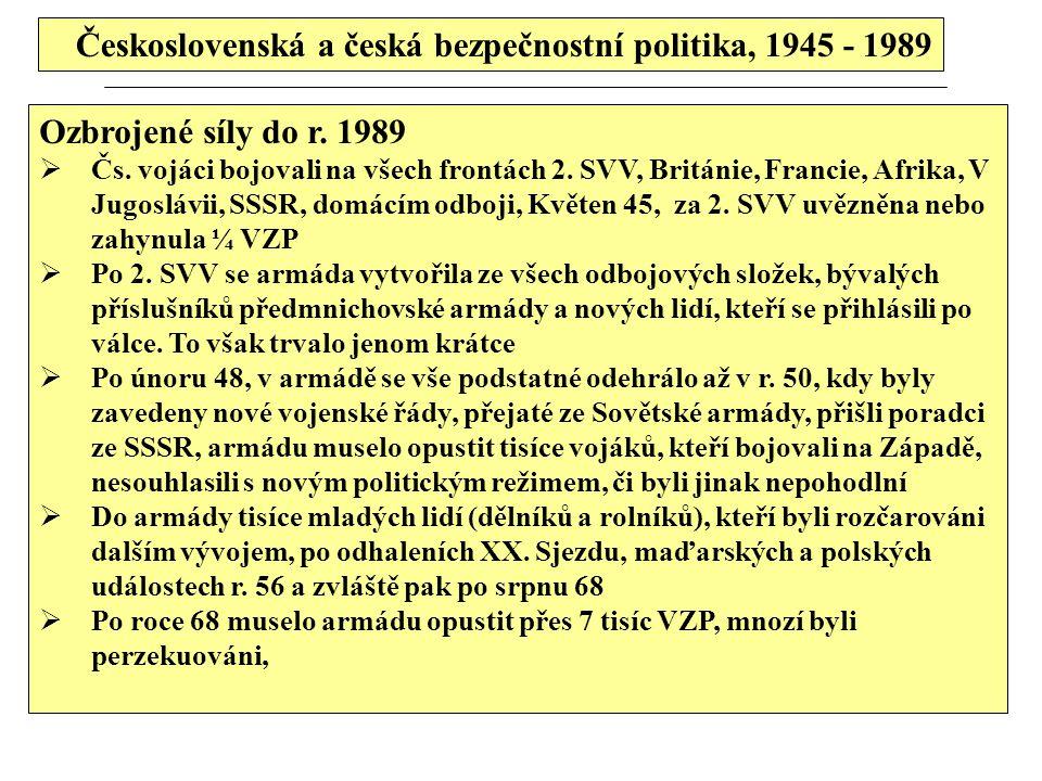 Československá a česká bezpečnostní politika, 1945 - 1989 Ozbrojené síly do r. 1989  Čs. vojáci bojovali na všech frontách 2. SVV, Británie, Francie,