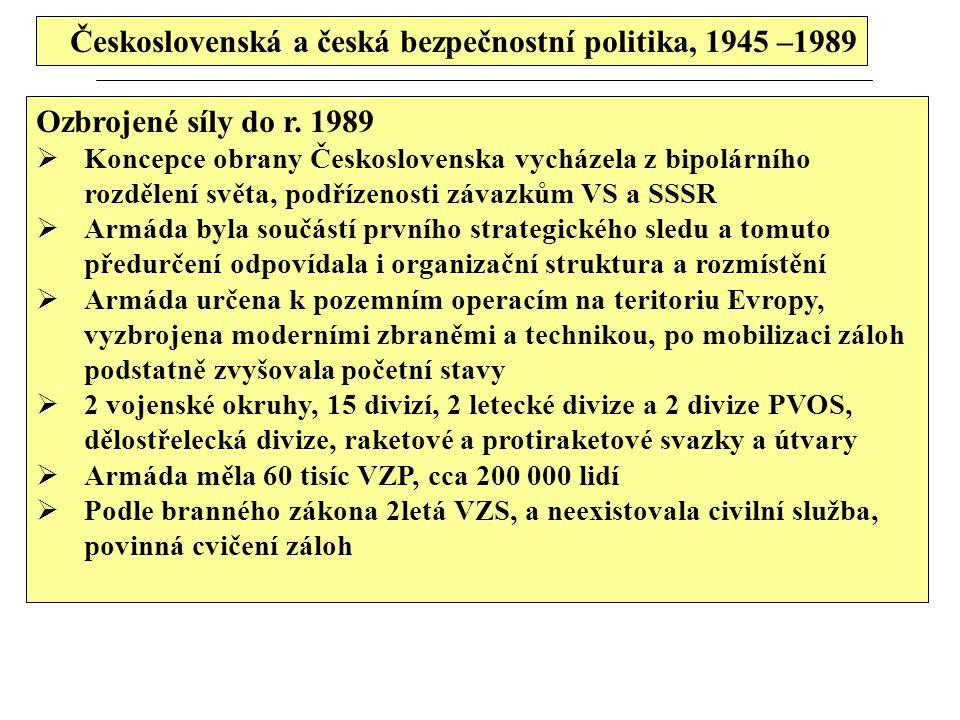 Československá a česká bezpečnostní politika, 1945 –1989 Ozbrojené síly do r. 1989  Koncepce obrany Československa vycházela z bipolárního rozdělení
