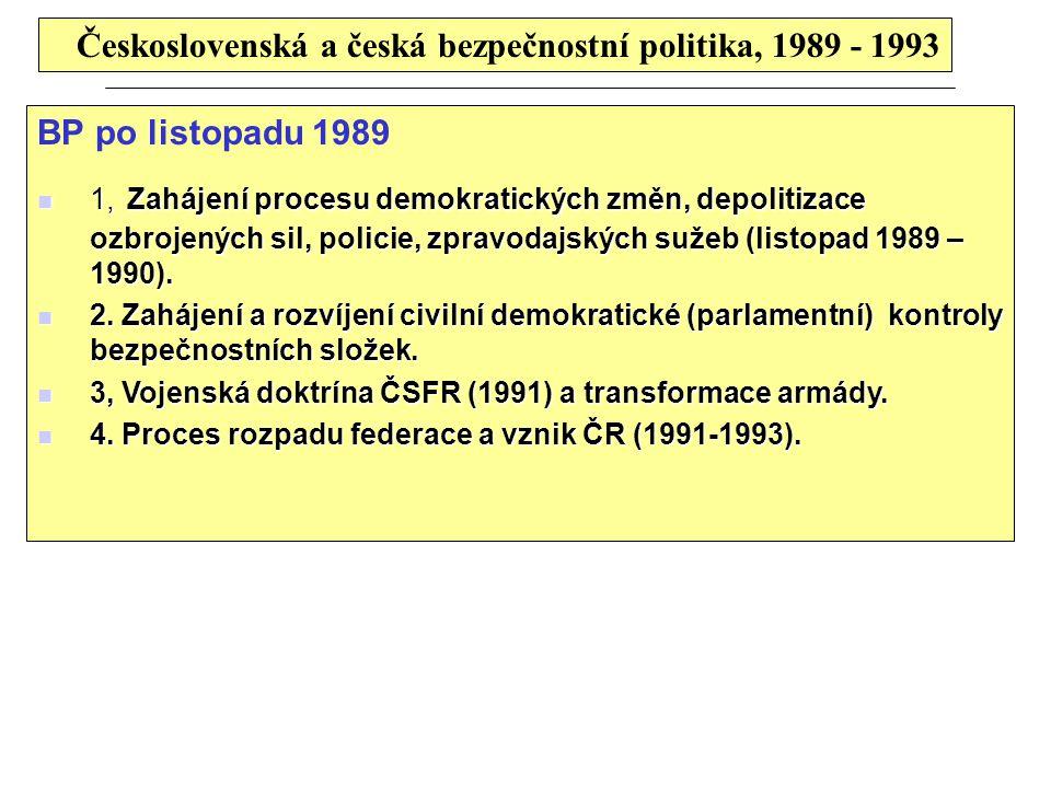 Československá a česká bezpečnostní politika, 1989 - 1993 BP po listopadu 1989 1, Zahájení procesu demokratických změn, depolitizace ozbrojených sil, policie, zpravodajských sužeb (listopad 1989 – 1990).
