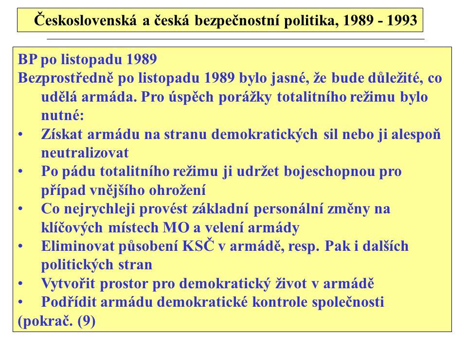 Československá a česká bezpečnostní politika, 1989 - 1993 BP po listopadu 1989 Bezprostředně po listopadu 1989 bylo jasné, že bude důležité, co udělá