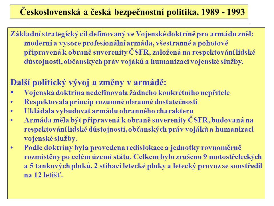 Československá a česká bezpečnostní politika, 1989 - 1993 Základní strategický cíl definovaný ve Vojenské doktríně pro armádu zněl: moderní a vysoce p