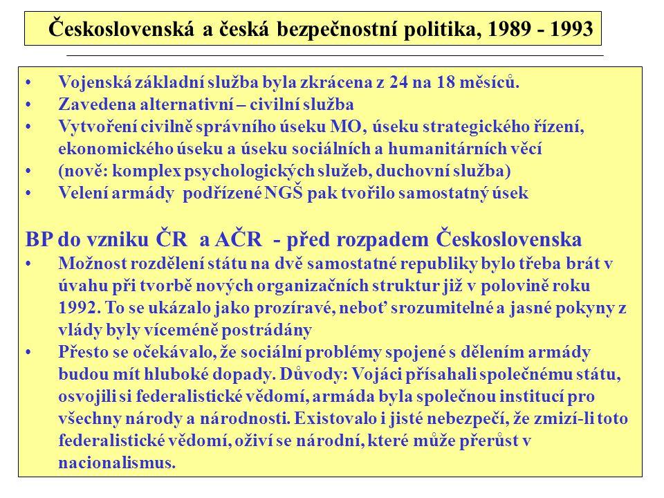 Československá a česká bezpečnostní politika, 1989 - 1993 Vojenská základní služba byla zkrácena z 24 na 18 měsíců. Zavedena alternativní – civilní sl