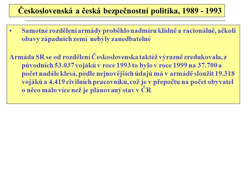 Československá a česká bezpečnostní politika, 1989 - 1993 Samotné rozdělení armády proběhlo nadmíru klidně a racionálně, ačkoli obavy západních zemí nebyly zanedbatelné Armáda SR se od rozdělení Československa taktéž výrazně zredukovala, z původních 53.037 vojáků v roce 1993 to bylo v roce 1999 na 37.700 a počet nadále klesá, podle nejnovějších údajů má v armádě sloužit 19.318 vojáků a 4.419 civilních pracovníků, což je v přepočtu na počet obyvatel o něco málo více než je plánovaný stav v ČR
