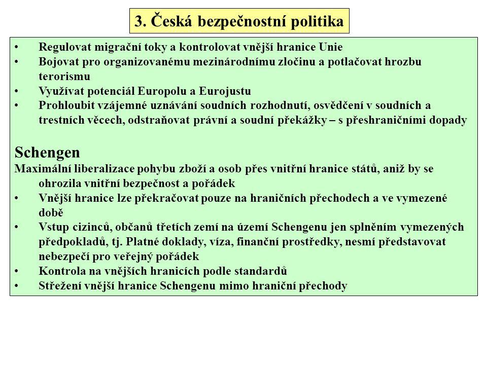 3. Česká bezpečnostní politika Regulovat migrační toky a kontrolovat vnější hranice Unie Bojovat pro organizovanému mezinárodnímu zločinu a potlačovat