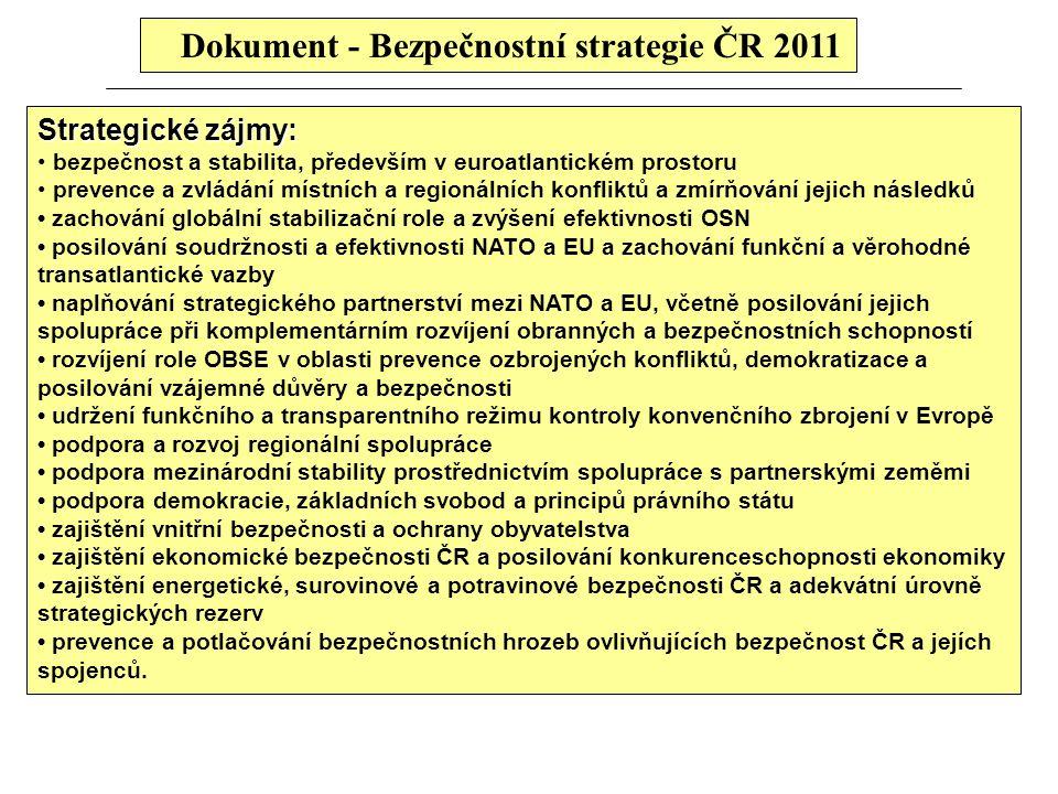 Dokument - Bezpečnostní strategie ČR 2011 Strategické zájmy: bezpečnost a stabilita, především v euroatlantickém prostoru prevence a zvládání místních a regionálních konfliktů a zmírňování jejich následků zachování globální stabilizační role a zvýšení efektivnosti OSN posilování soudržnosti a efektivnosti NATO a EU a zachování funkční a věrohodné transatlantické vazby naplňování strategického partnerství mezi NATO a EU, včetně posilování jejich spolupráce při komplementárním rozvíjení obranných a bezpečnostních schopností rozvíjení role OBSE v oblasti prevence ozbrojených konfliktů, demokratizace a posilování vzájemné důvěry a bezpečnosti udržení funkčního a transparentního režimu kontroly konvenčního zbrojení v Evropě podpora a rozvoj regionální spolupráce podpora mezinárodní stability prostřednictvím spolupráce s partnerskými zeměmi podpora demokracie, základních svobod a principů právního státu zajištění vnitřní bezpečnosti a ochrany obyvatelstva zajištění ekonomické bezpečnosti ČR a posilování konkurenceschopnosti ekonomiky zajištění energetické, surovinové a potravinové bezpečnosti ČR a adekvátní úrovně strategických rezerv prevence a potlačování bezpečnostních hrozeb ovlivňujících bezpečnost ČR a jejích spojenců.