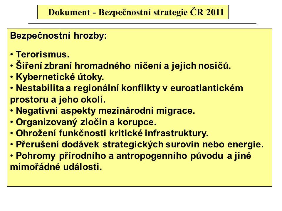 Dokument - Bezpečnostní strategie ČR 2011 Bezpečnostní hrozby: Terorismus. Šíření zbraní hromadného ničení a jejich nosičů. Kybernetické útoky. Nestab