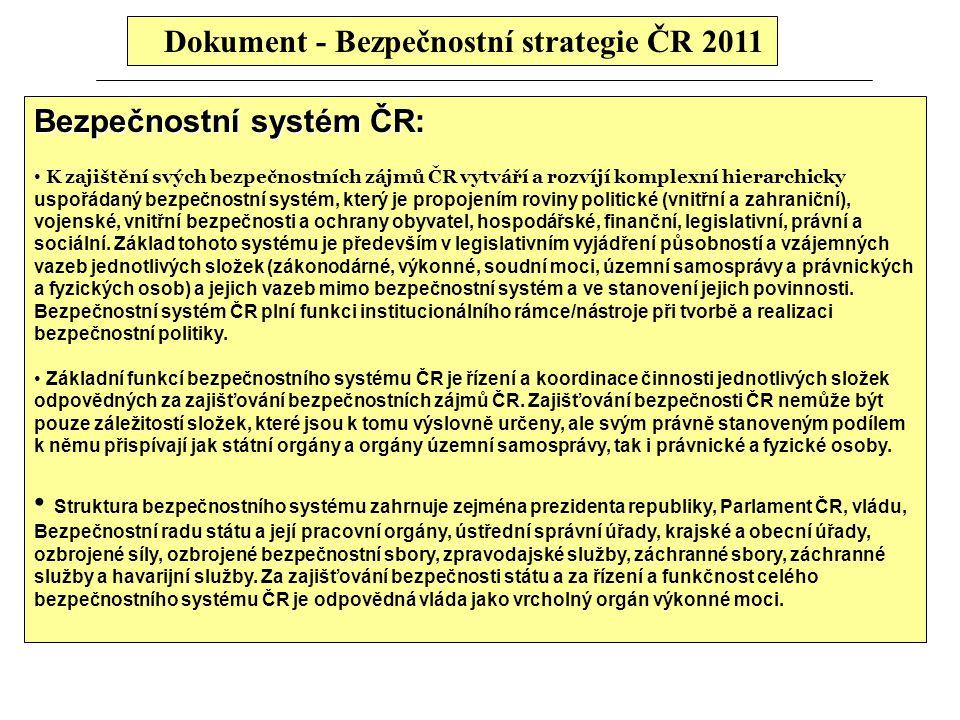 Dokument - Bezpečnostní strategie ČR 2011 Bezpečnostní systém ČR: K zajištění svých bezpečnostních zájmů ČR vytváří a rozvíjí komplexní hierarchicky u