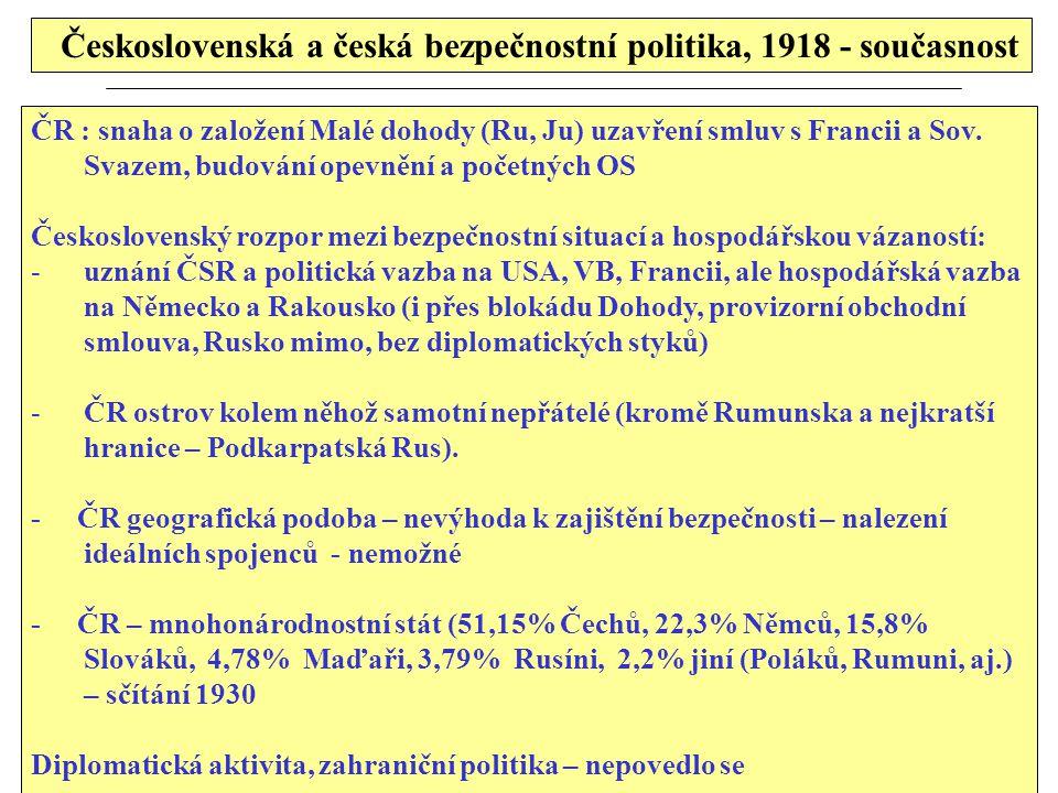 Československá a česká bezpečnostní politika, 1918 - současnost ČR : snaha o založení Malé dohody (Ru, Ju) uzavření smluv s Francii a Sov. Svazem, bud