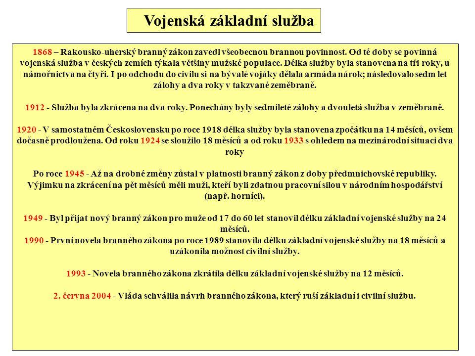 Vojenská základní služba 1868 – Rakousko-uherský branný zákon zavedl všeobecnou brannou povinnost. Od té doby se povinná vojenská služba v českých zem
