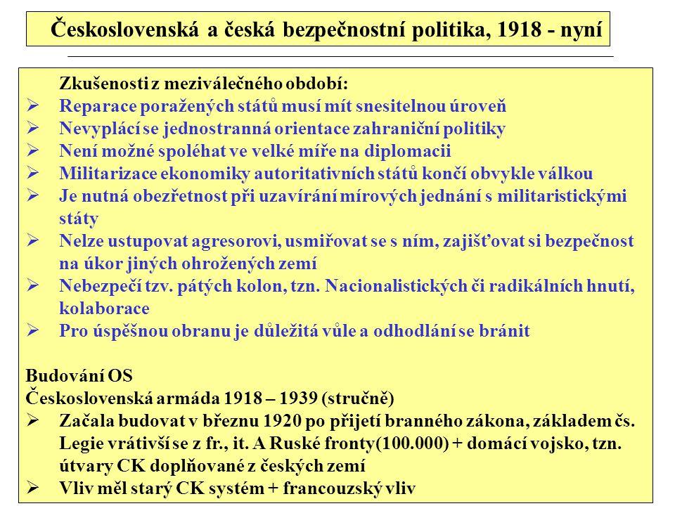 Československá a česká bezpečnostní politika, 1918 -nyní  Mírový stav armády ve 20 letech cca 12 divizí, 24 pěších brigád, 2 hor.