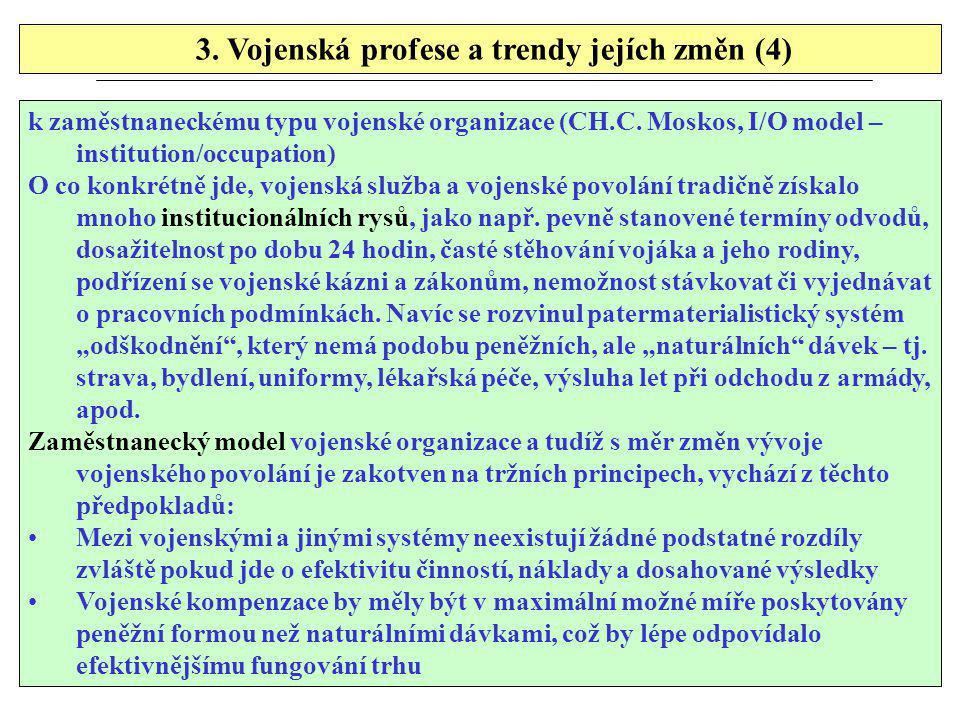 3. Vojenská profese a trendy jejích změn (4) k zaměstnaneckému typu vojenské organizace (CH.C. Moskos, I/O model – institution/occupation) O co konkré