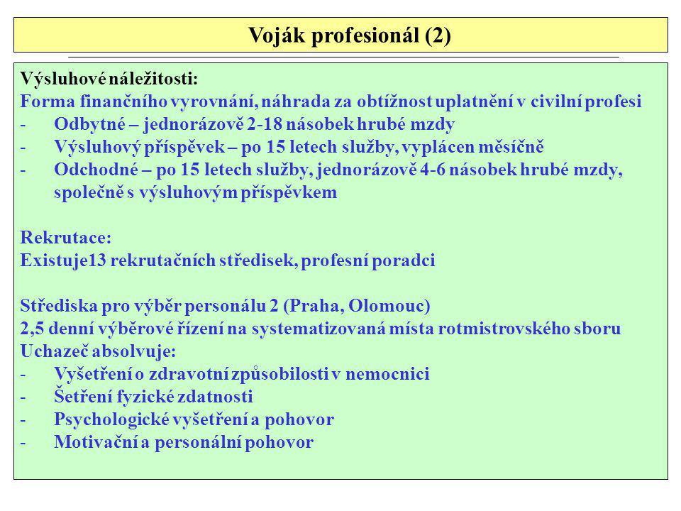 Voják profesionál (2) Výsluhové náležitosti: Forma finančního vyrovnání, náhrada za obtížnost uplatnění v civilní profesi -Odbytné – jednorázově 2-18