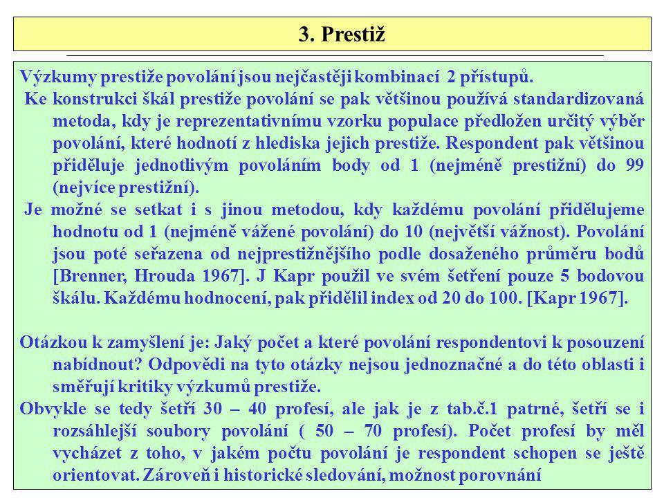 3. Prestiž Výzkumy prestiže povolání jsou nejčastěji kombinací 2 přístupů. Ke konstrukci škál prestiže povolání se pak většinou používá standardizovan