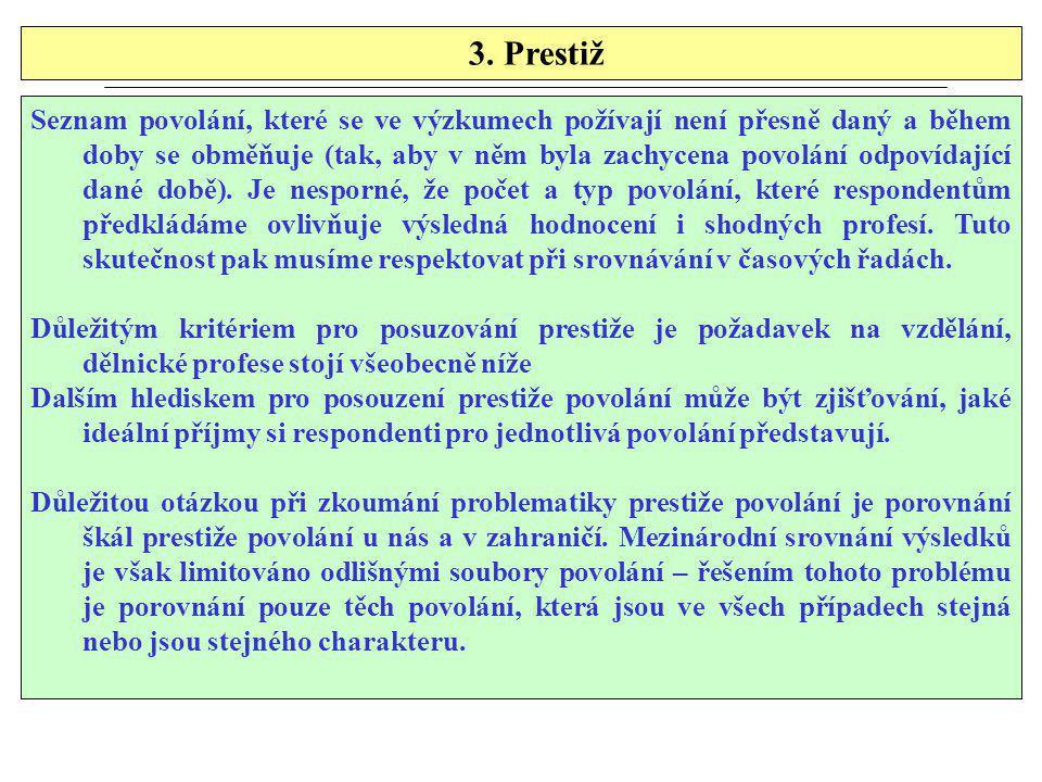 3. Prestiž Seznam povolání, které se ve výzkumech požívají není přesně daný a během doby se obměňuje (tak, aby v něm byla zachycena povolání odpovídaj