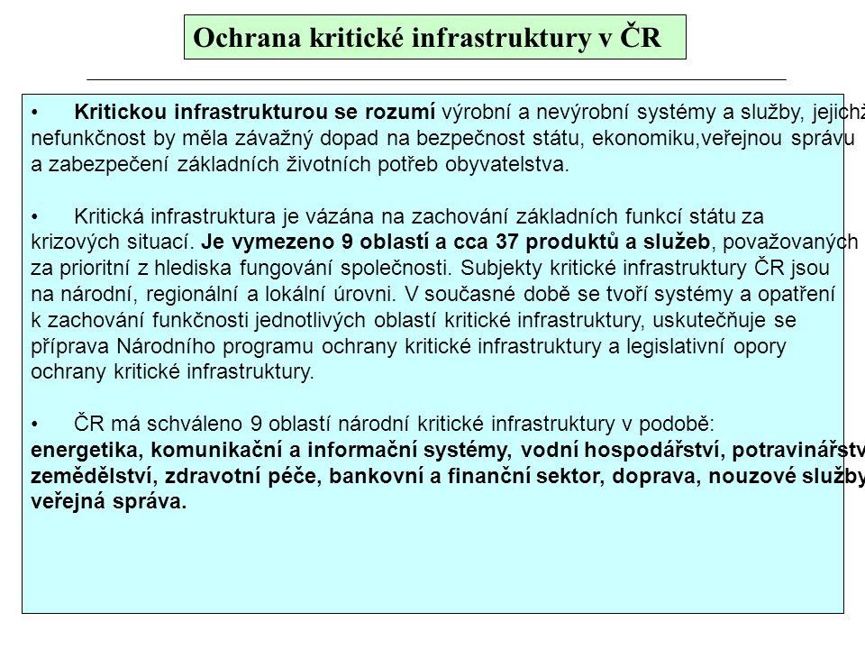 Ochrana kritické infrastruktury v ČR Kritickou infrastrukturou se rozumí výrobní a nevýrobní systémy a služby, jejichž nefunkčnost by měla závažný dop
