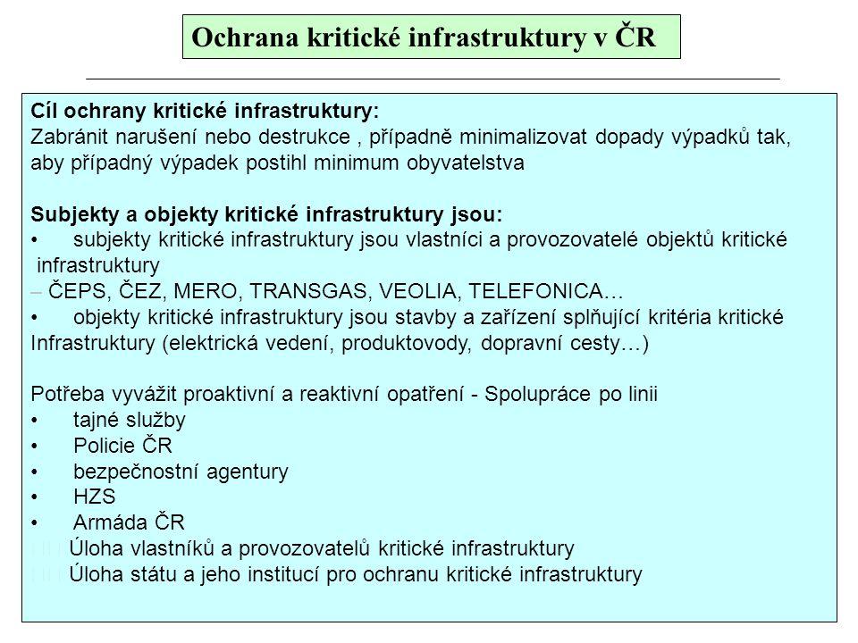 Ochrana kritické infrastruktury v ČR Cíl ochrany kritické infrastruktury: Zabránit narušení nebo destrukce, případně minimalizovat dopady výpadků tak,